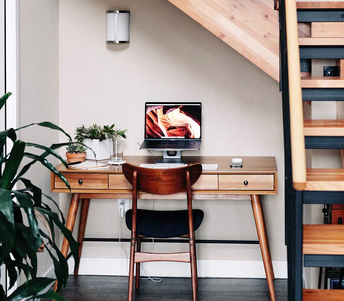 Home office set up under the stairs