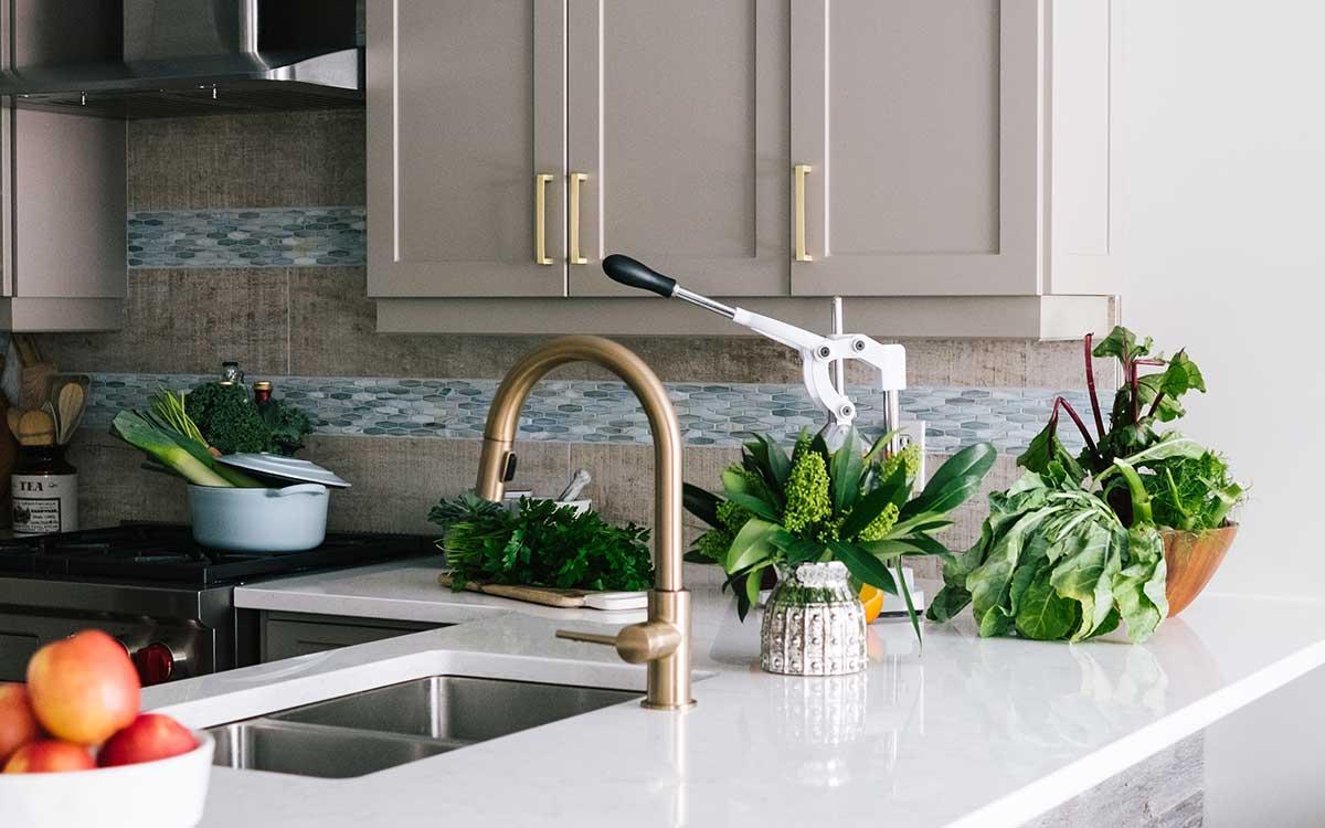 Hot water tap in modern kitchen
