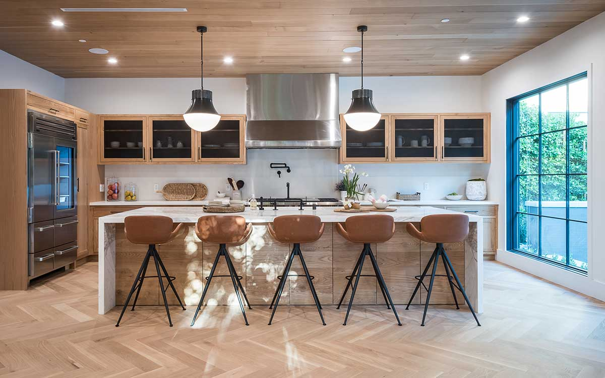 Wood and mixed materials used in kitchen interior design