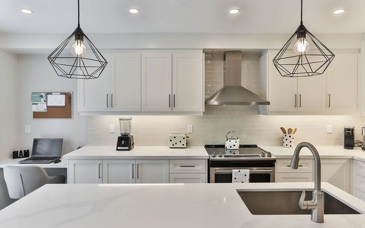 Modern kitchen design with space for home office